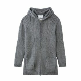Unisex Wool Mix Hooded Cardigan with Pockets