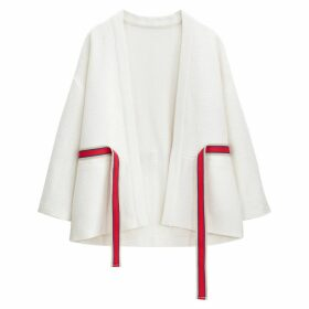 Loose Fit Cotton Kimono Jacket with Tie-Waist