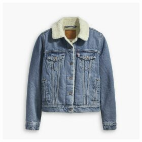 Sherpa Trucker Jacket with Faux Sheepskin Lining and Pockets