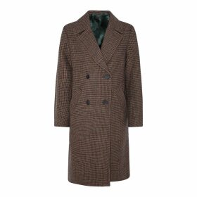Long Straight Double-Breasted Coat and Pockets