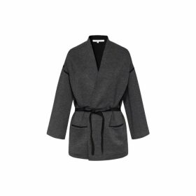 Gerard Darel Wide-cut Knit Sevana Cardigan With Herringbone