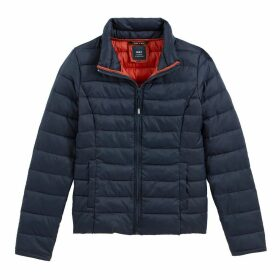 Short Zip-Up Padded Jacket with High-Neck