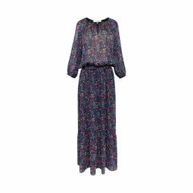Gerard Darel Long Printed Muslin And Lurex Diana Dress