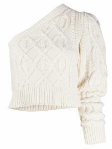 Wandering one shoulder cable knit jumper - White