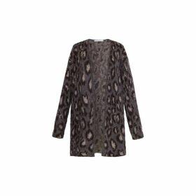 Gerard Darel Oversized Wool-blend Leopard Print Sara Cardigan