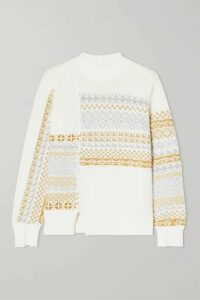 3.1 Phillip Lim - Asymmetric Patchwork Metallic Fair Isle Wool-blend Sweater - Cream