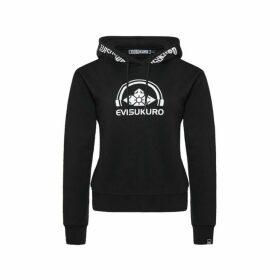 Evisu Logo Print Hood Cropped Hoodie
