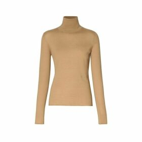 Burberry Embroidered Logo Cashmere Silk Roll-neck Sweater