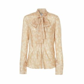 Burberry Deer Print Silk Chiffon Pussy-bow Blouse