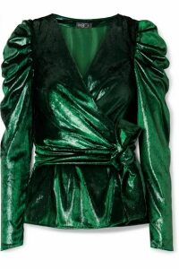 PatBO - Metallic Velvet Wrap Top - Dark green