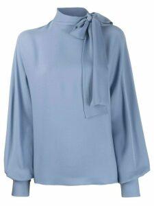 Valentino pussy bow neckline draped blouse - Blue