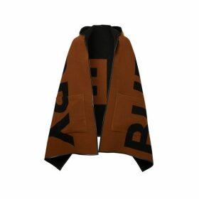 Burberry Logo Wool Cotton Jacquard Hooded Cape