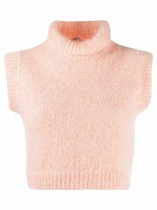 Miu Miu short-sleeved turtle neck top - PINK