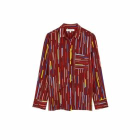 Chinti & Parker Berry Verticals Silk Crepe De Chine Shirt