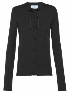 Prada bow detail silk cardigan - Black
