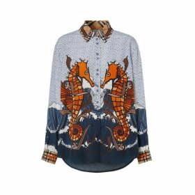 Burberry Seahorse And Monogram Print Silk Shirt