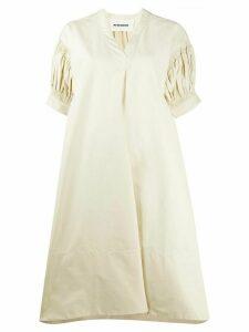 Jil Sander oversized puffed sleeve dress - NEUTRALS