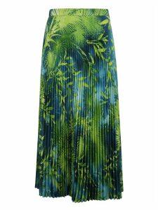 Versace Leaf Print Pleated Skirt