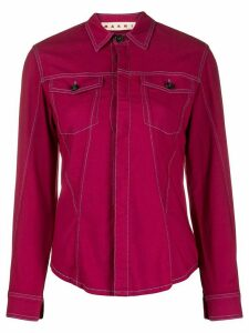 Marni contrast-stitch flap-pocket shirt - PINK