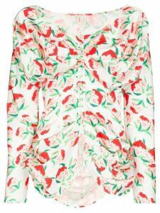 yuhan wang peach print ruched blouse - White