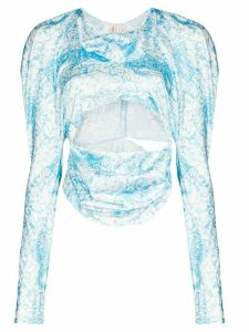 yuhan wang Kitty long-sleeve crop top - Blue