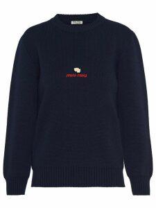 Miu Miu embroidered logo jumper - Blue