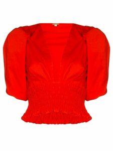 Johanna Ortiz Playful Vision stretch-cotton blouse - Red