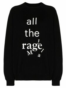 Maison Margiela oversized slogan-print cotton sweatshirt - Black