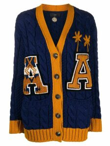 Alanui cable-knit varsity cardigan - Blue