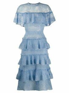 Self-Portrait broderie tiered dress - Blue