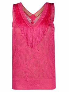 Twin-Set lace stitch fringed top - PINK