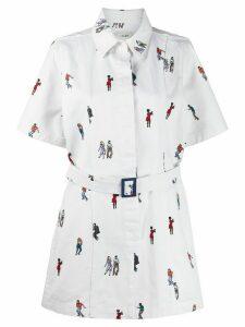 Kirin dancers-print short-sleeved shirt dress - White