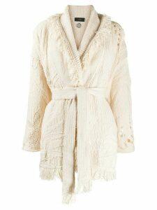 Alanui tie-waist textured knit cardigan - NEUTRALS