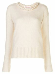 Alejandra Alonso Rojas embellished long-sleeve jumper - White