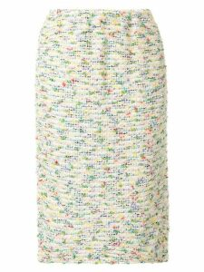 Coohem straight knee length tweed skirt - Yellow