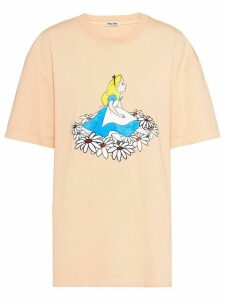 Miu Miu Alice in Wonderland-print oversized T-shirt - ORANGE