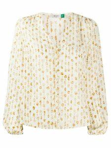 Rixo shell print blouse - NEUTRALS