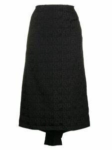 Comme Des Garçons godet-hem monogram skirt - Black