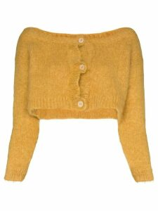 Miu Miu cropped mohair-blend cardigan - Yellow