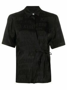 Kirin logo-jacquard wrap shirt - Black