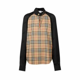 Burberry Vintage Check Stretch Cotton And Logo Jacquard Top