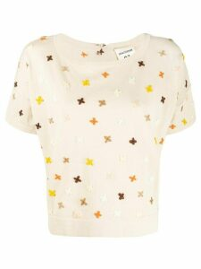 Semicouture embroidered knitted T-shirt - NEUTRALS