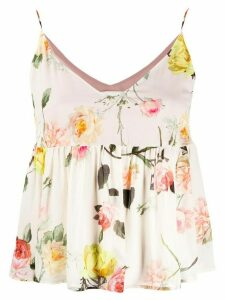 Semicouture flared floral-print top - NEUTRALS