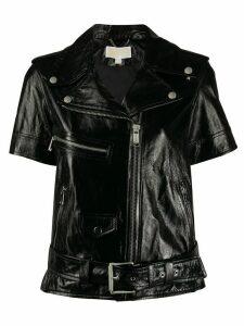 Michael Michael Kors short sleeve moto jacket - Black
