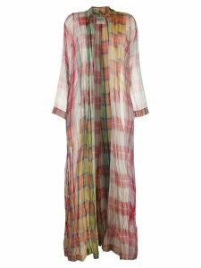 Forte Forte checked silk long coat - PINK