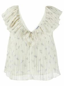 GANNI floral-print pleated blouse - NEUTRALS