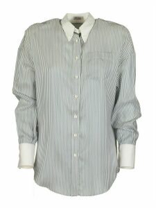 Brunello Cucinelli Silk Shirt Striped Shirt In Light Silk Plaster With Precious Tongue