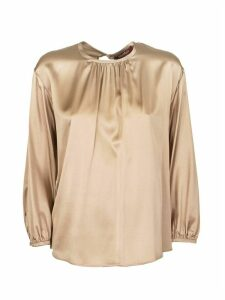 Max Mara Silk Satin Blouse Top Cafila Nude
