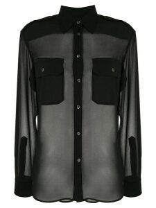 Polo Ralph Lauren sheer chest-pocket blouse - Black