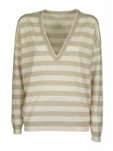 Brunello Cucinelli V-neck Sweater Cashmere And Linen Striped Sweater With Monili